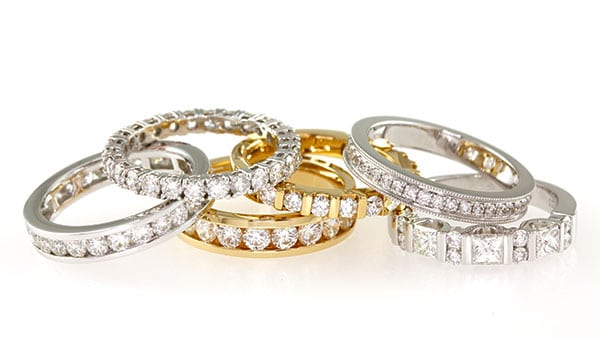 6 stackable gold and silver wedding rings from Gilletts Jewellers