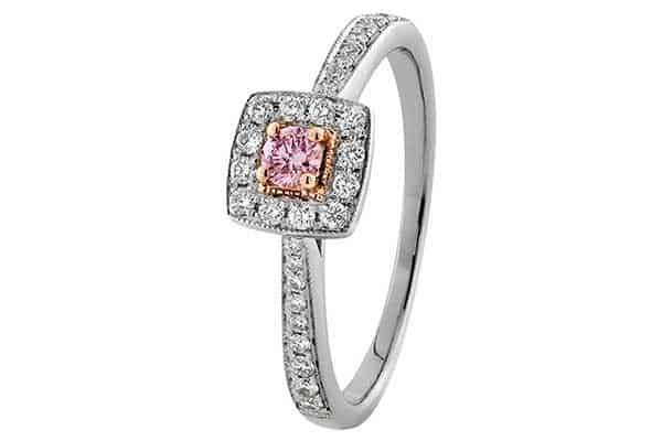 Pillow shaped ring with pink diamond from Xennox Jewellery