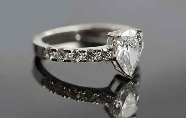 Tear drop shaped diamond ring from Crown Family Jewellers