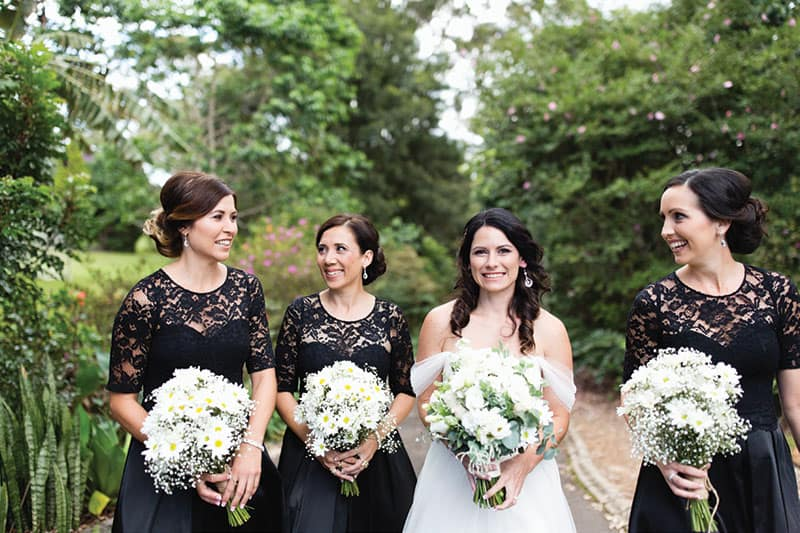 This #bridetribe opts for black and lace. Photo: Lyndal Carmichael