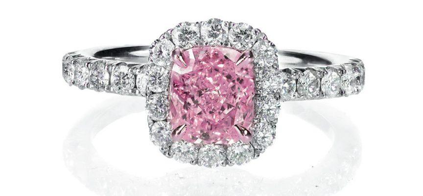 Pink diamond emerald shaped ring