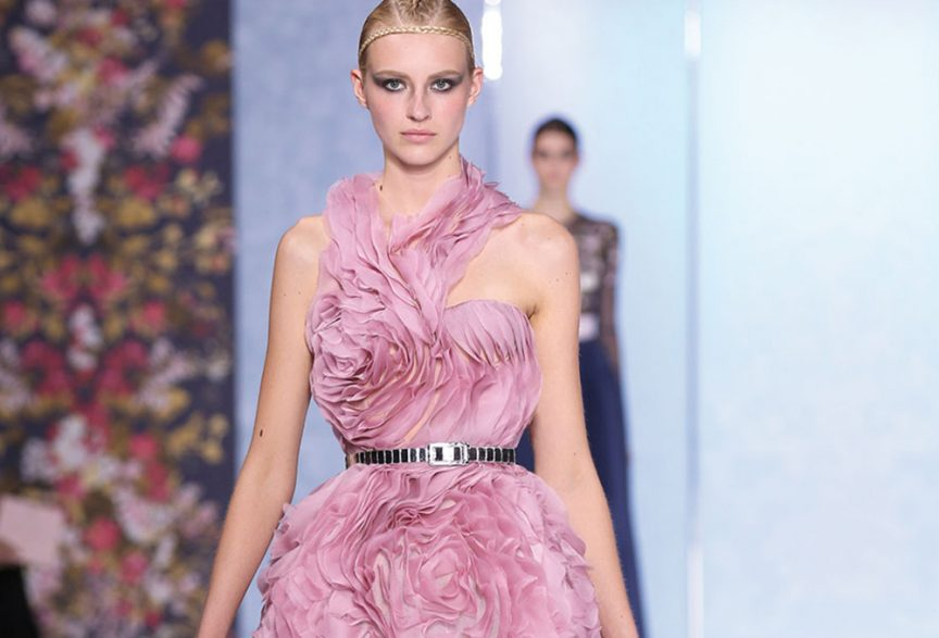 Pink wedding dress by Ralph Russo