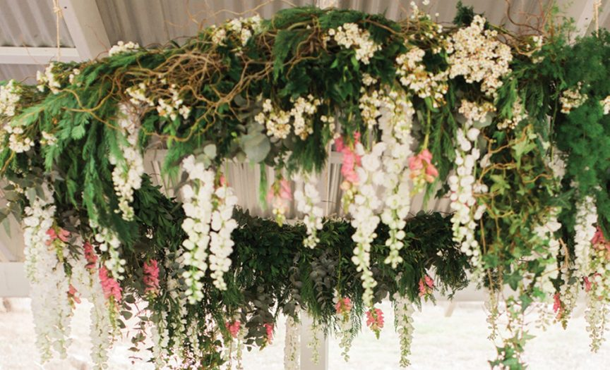 Overhanging floral wreath