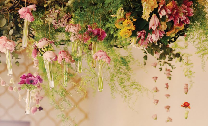 Overhanging florals for this wedding ceremony