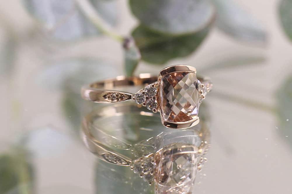 Morganite rose gold diamond ring
