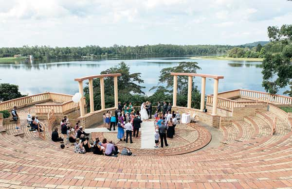 Greek-style paved amphitheatre at Lake Macdonald, near Cooroy is a popular outdoor Noosa wedding venue.
