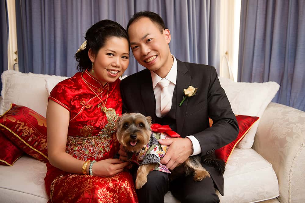 Party animals: traditional chinese bride and groom with their pet dog.
