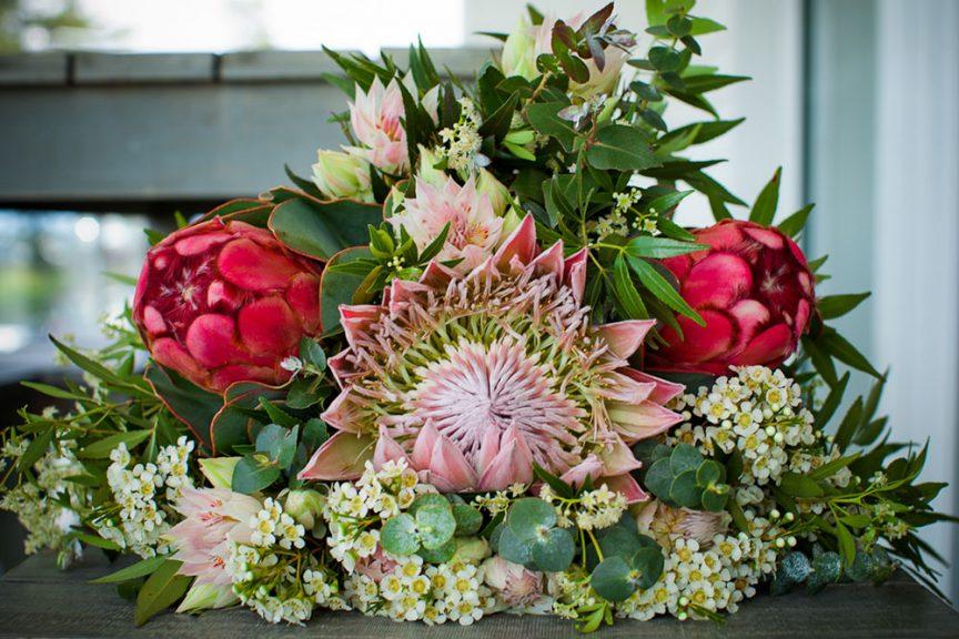 Cascading floral bouquet.