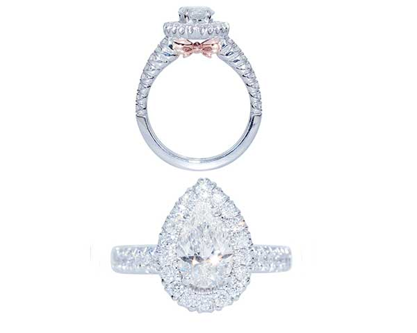 Pear shaped diamond ring + square diamond with pink bow detail