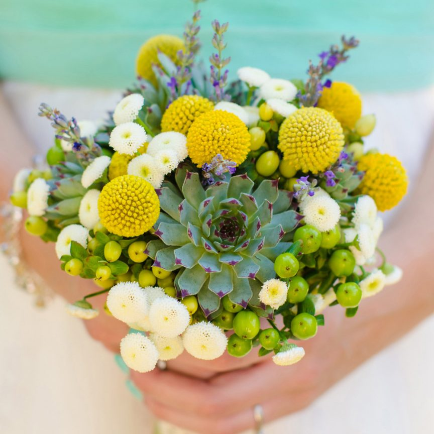 Spring floral bouquet with succulents