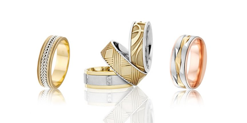 Different textured wedding bands for men