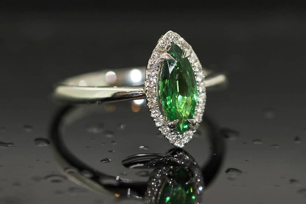 Tsavarite diamond ring