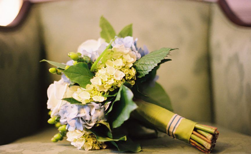 Green, lavender & white floral bouquet.