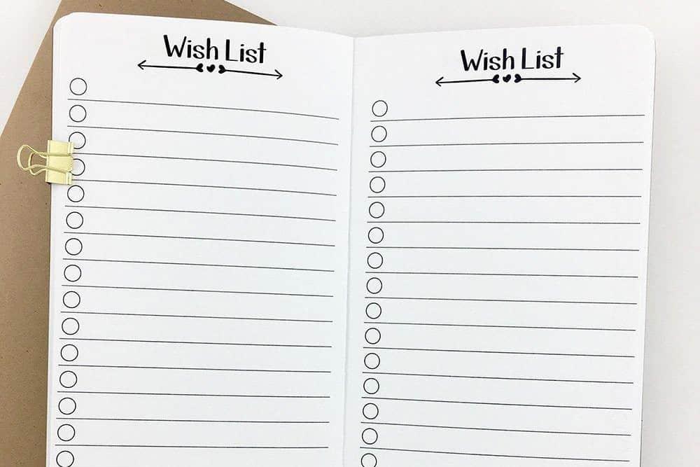 Wishlist for a wedding gift registry.