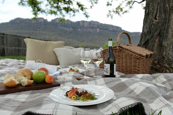 Australian honeymoon picnic at Emirates One& Only Wolgan Valley Resort.