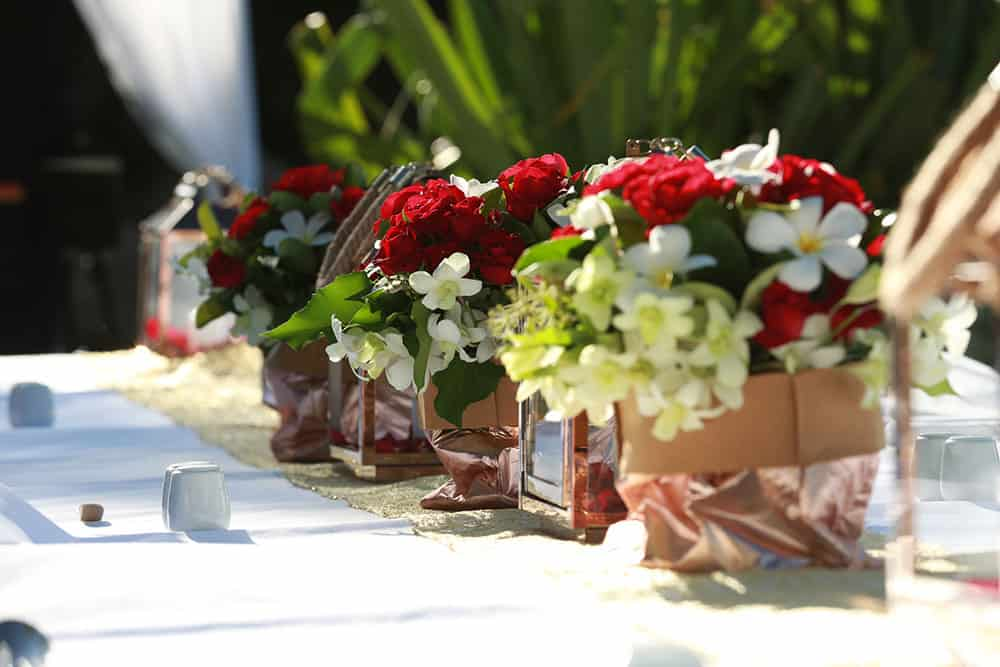 floral centrepieces at a Surfers Paradise Marriott Resort wedding
