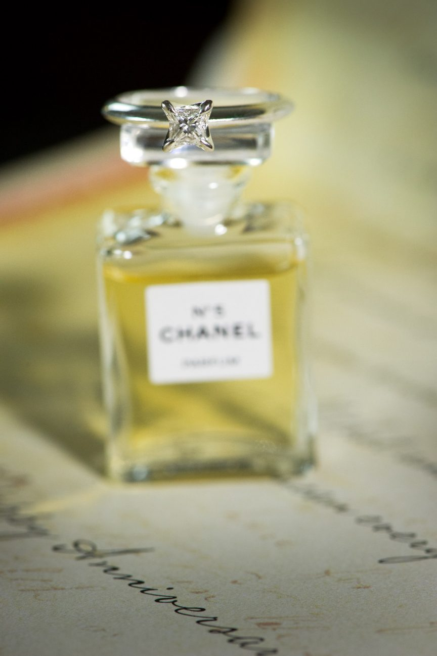 Square-shaped diamond ring with Chanel No.5