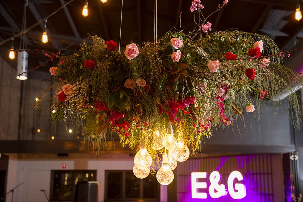 A Floral chandelier for Emma and Guys reception at The Joinery.
