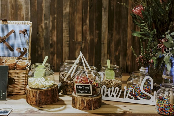 Sweet + lolly table at a wedding reception.
