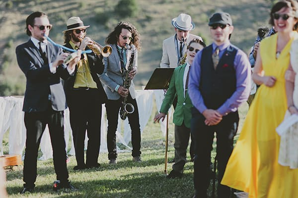 A live band is the best way to get the party started at a wedding.