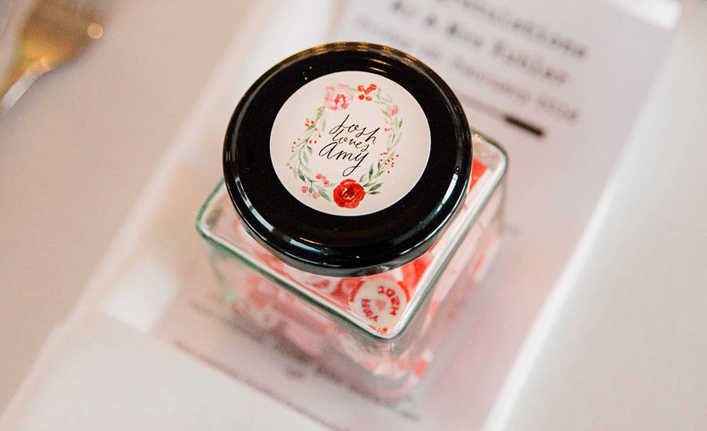 All the love in the world photography of wedding favours.