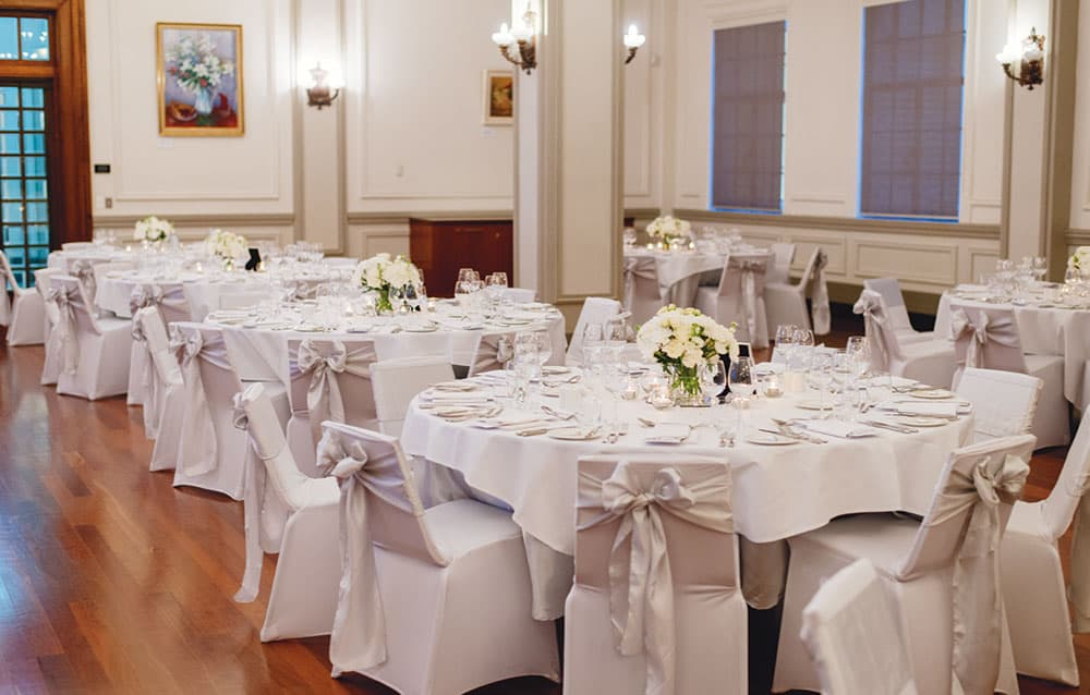 Wedding reception setting at EPICURE Brisbane City Hall