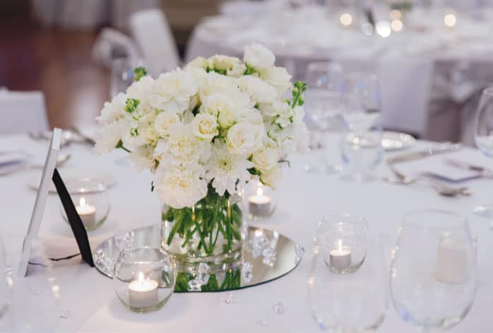 Floral centrepiece at an EPICURE wedding reception