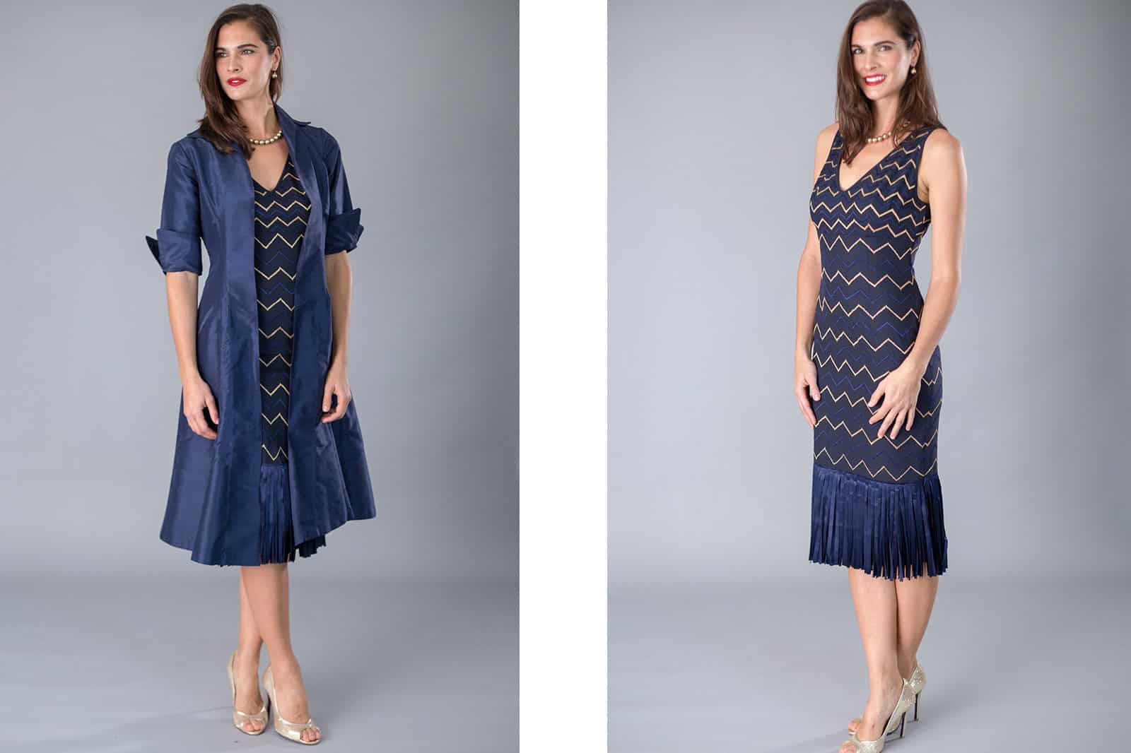 beautiful blue mother of the bride dress and jacket from Living Silk