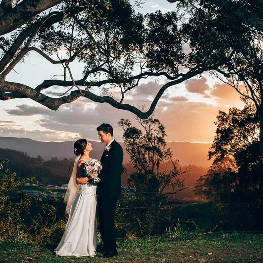 Bride and grooms' hinterland wedding