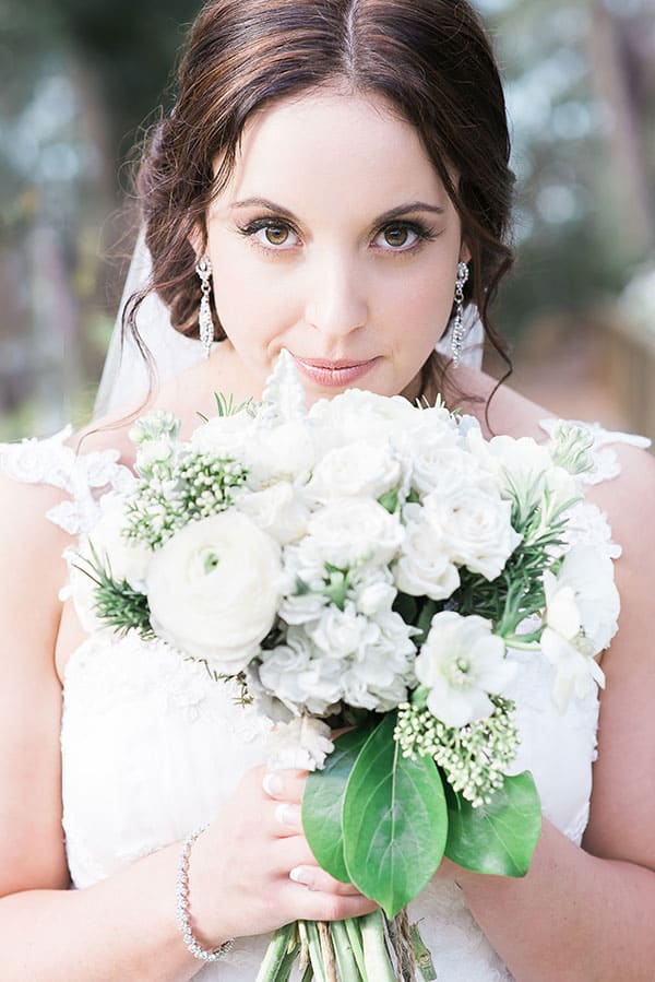 Bride and her bouquet.