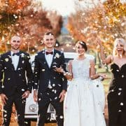 Wedding party + confetti