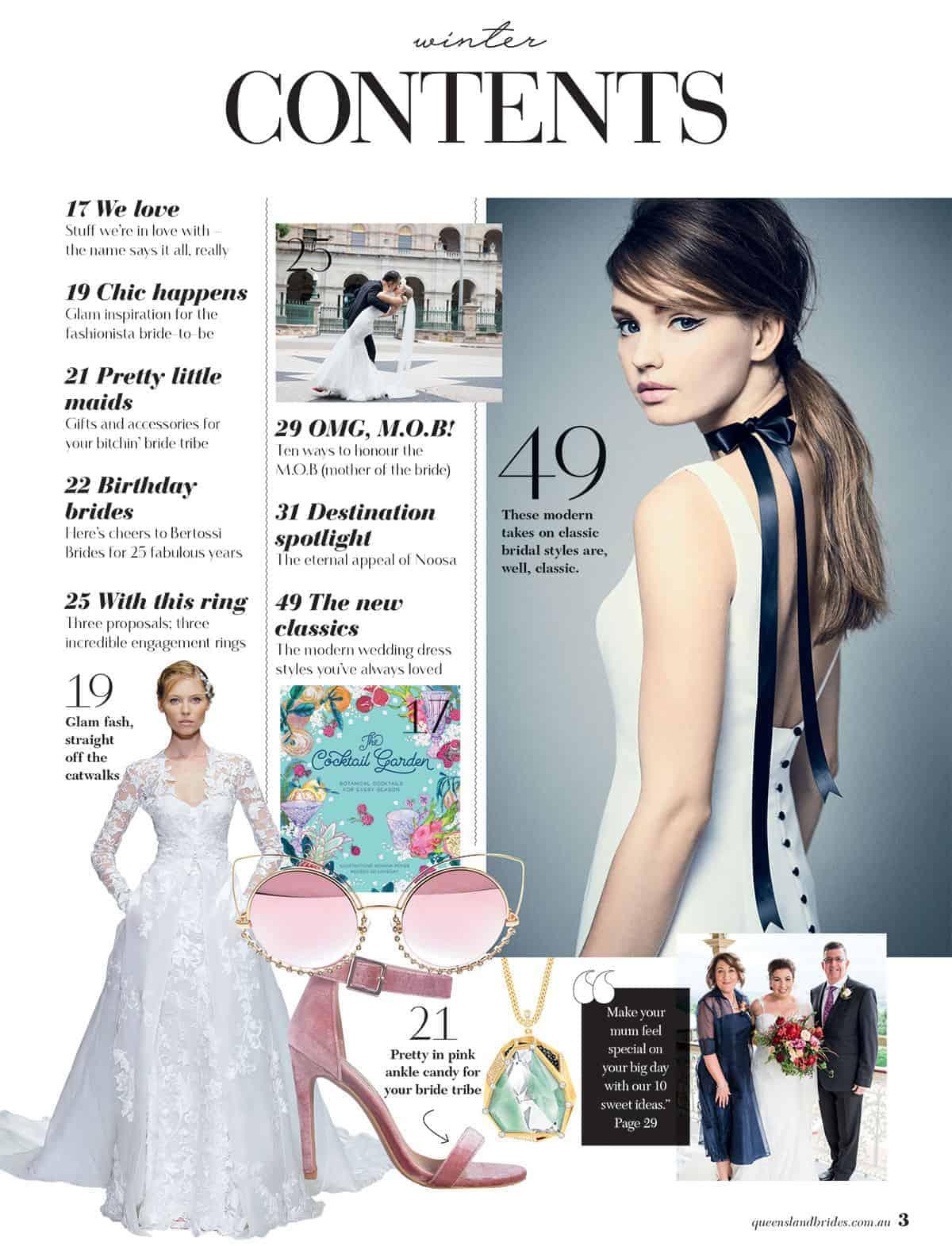 Queensland Brides Winter 2017 contents