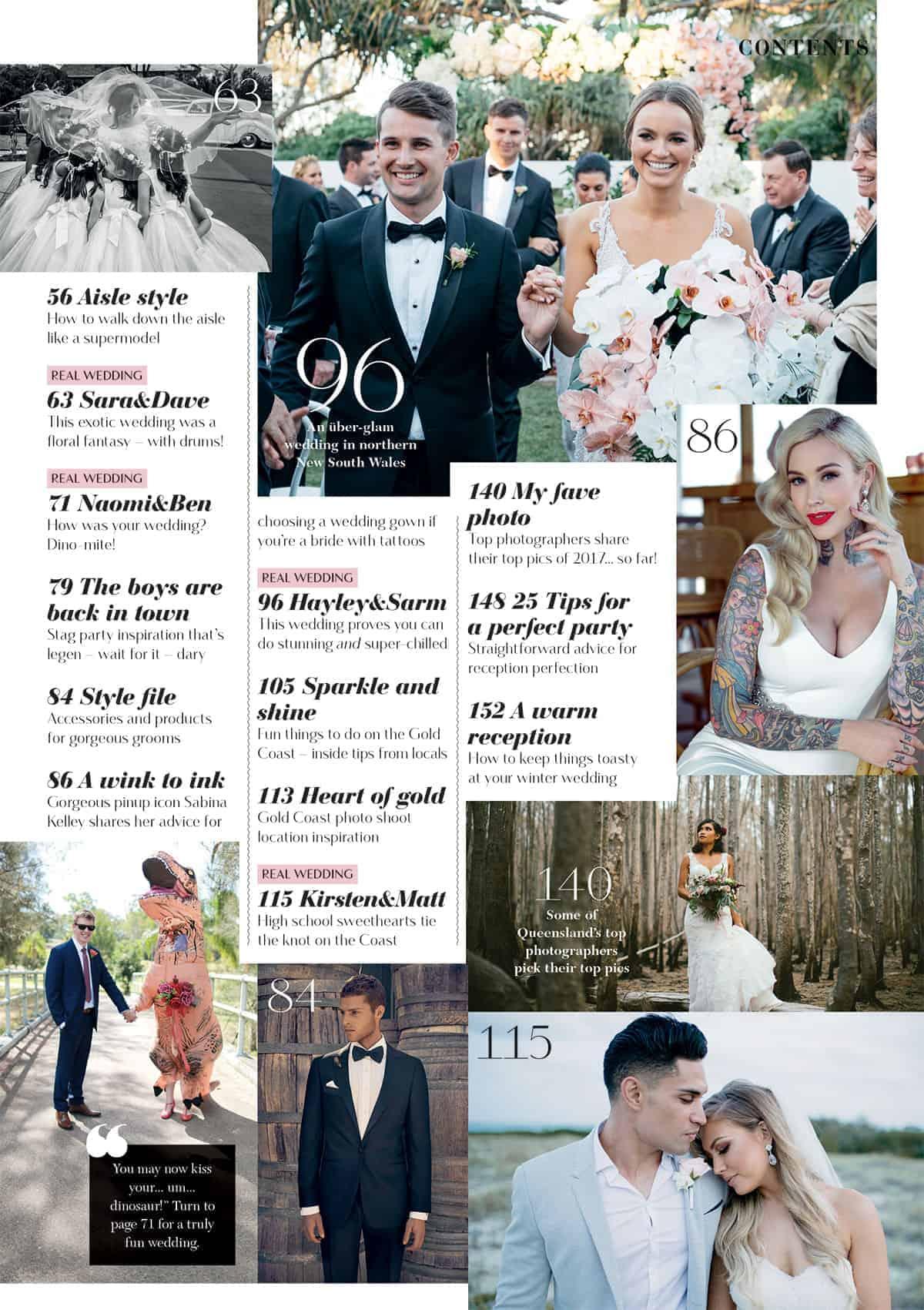 Queensland Brides Winter 2017 edition contents