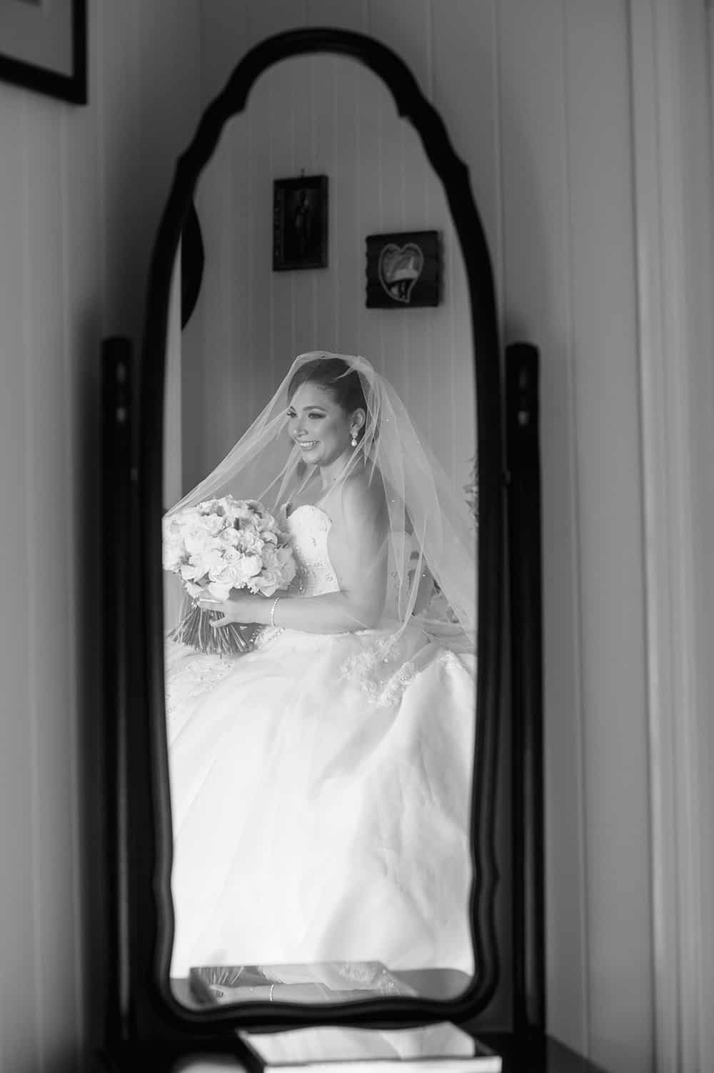 Real bride Catherine Giorgas in her wedding gown