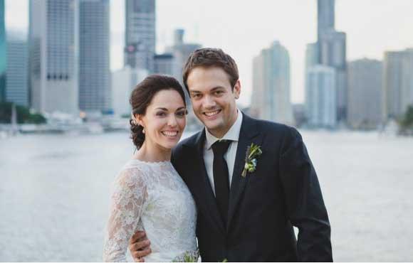 Bride and groom at their Brisbane riverside wedding