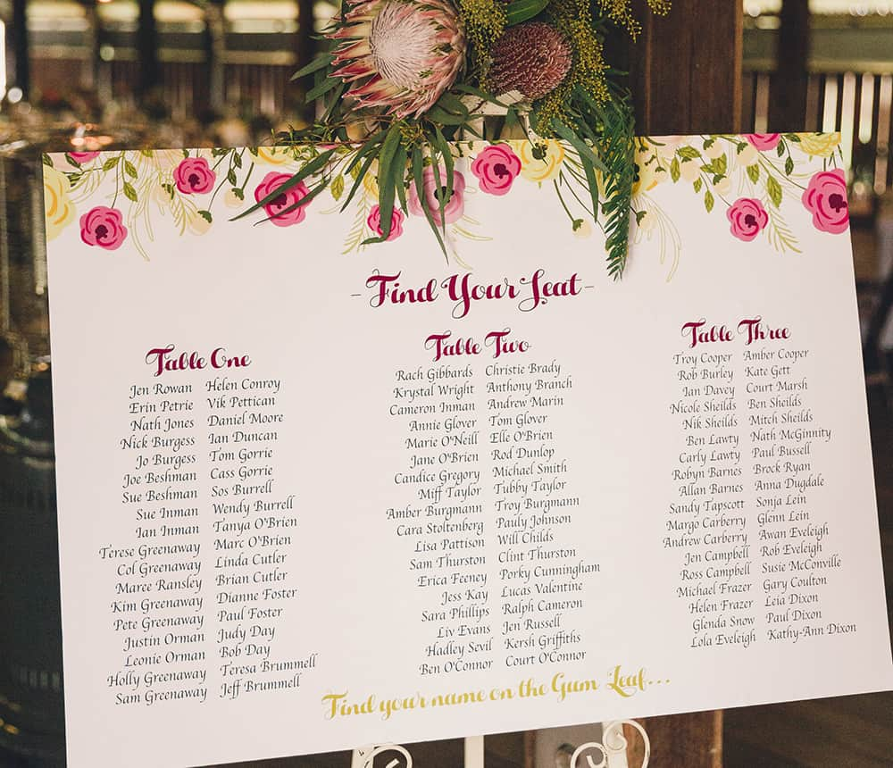 Wedding seating plan by Jess Marks Photography.