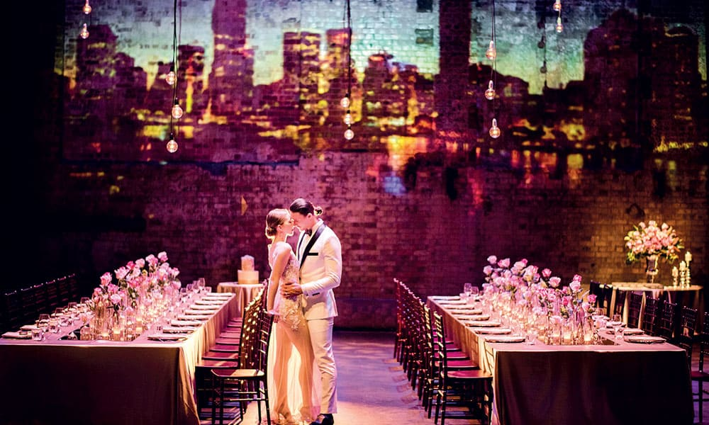 Bride and groom at a reception at the Brisbane Powerhouse.