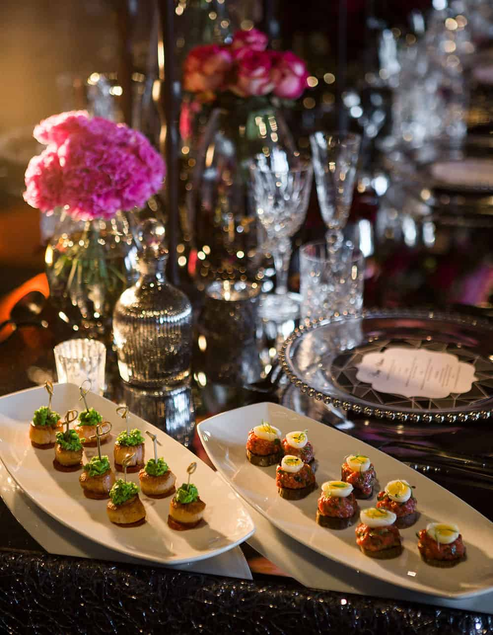 Canapes at a Customs House wedding reception.