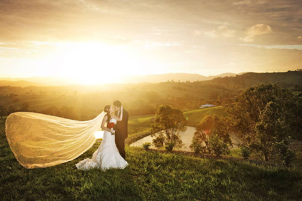 Bride and groom getting married at Glengariff Historic Estate