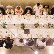 Aerial view of wedding reception