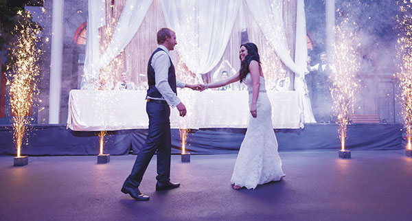 A Movieworld wedding: The bride and grooms first dance.