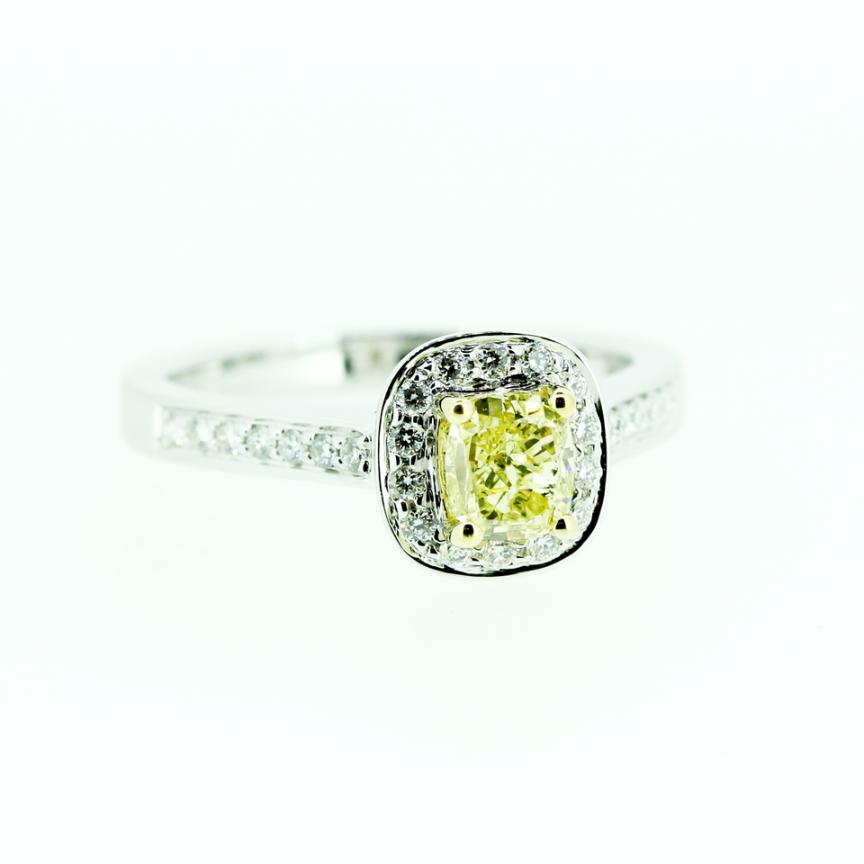 Pillow shaped diamond ring with yellow diamond