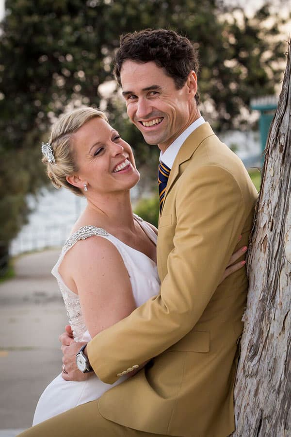 Bride and groom married at Redcliffe.