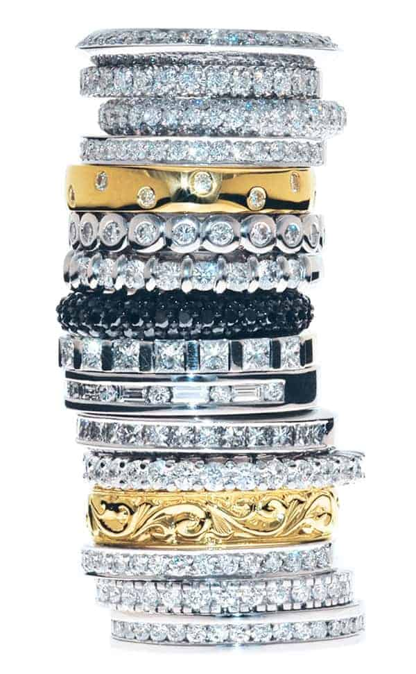 Stack of diamond wedding rings