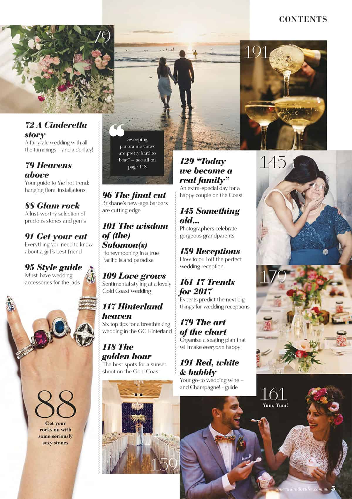 Queensland Brides Summer 16-17 contents