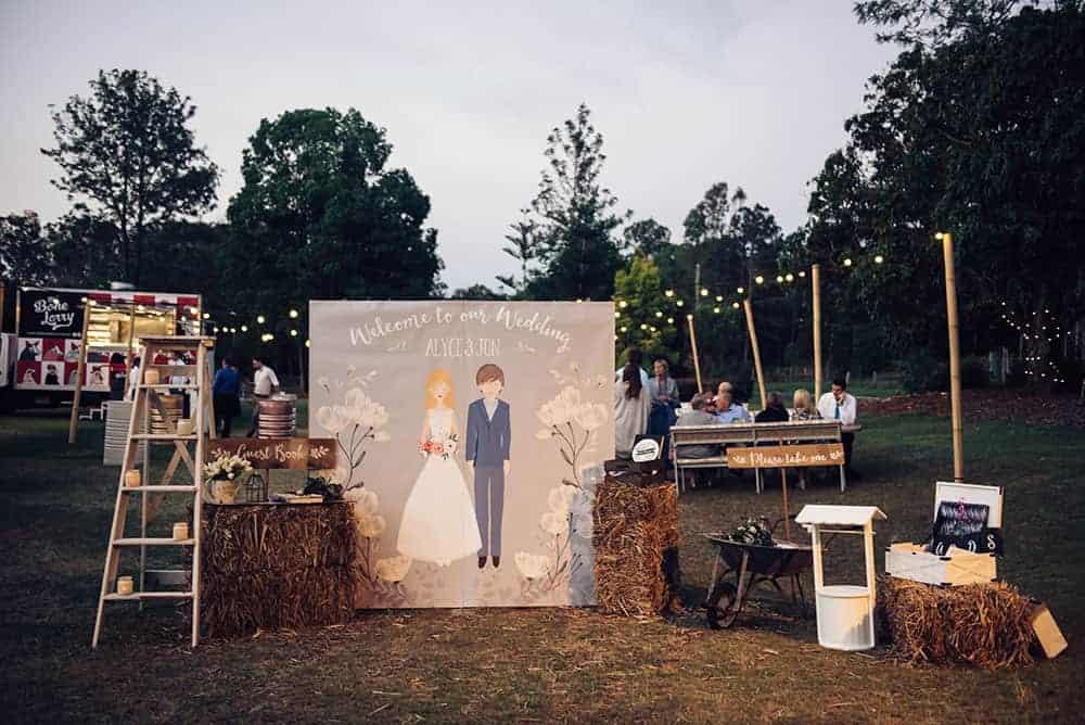 Personalised wedding ceremony backdrop
