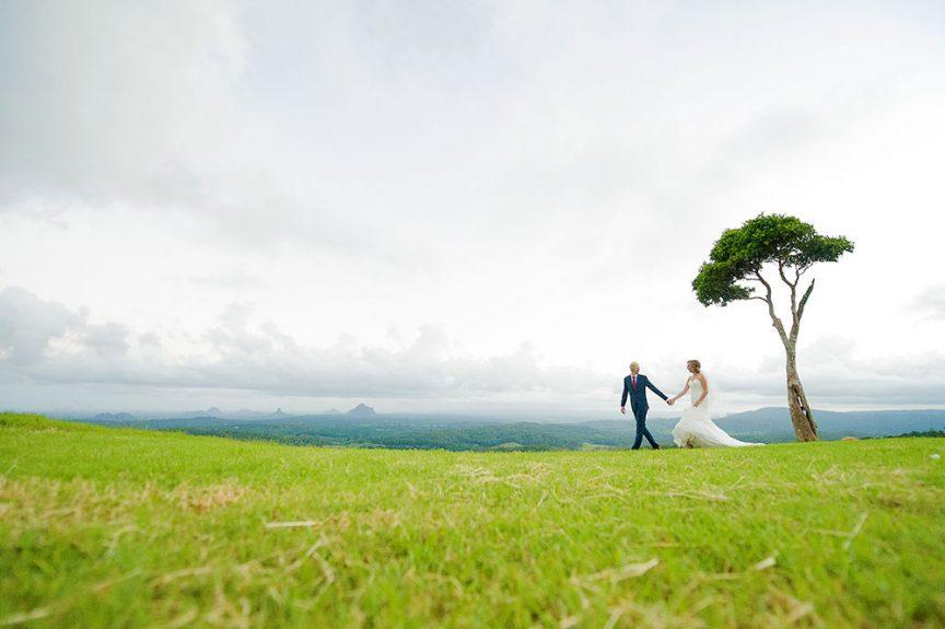 wedding couple at one tree hill in Maleny, Sunshine Coast Australia