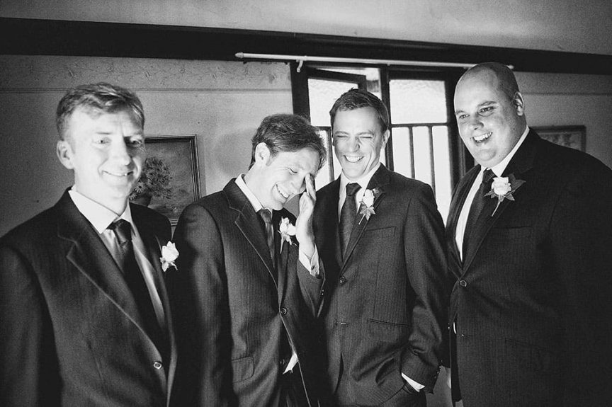 black and white image of grooms party by  Christopher Thomas Photography