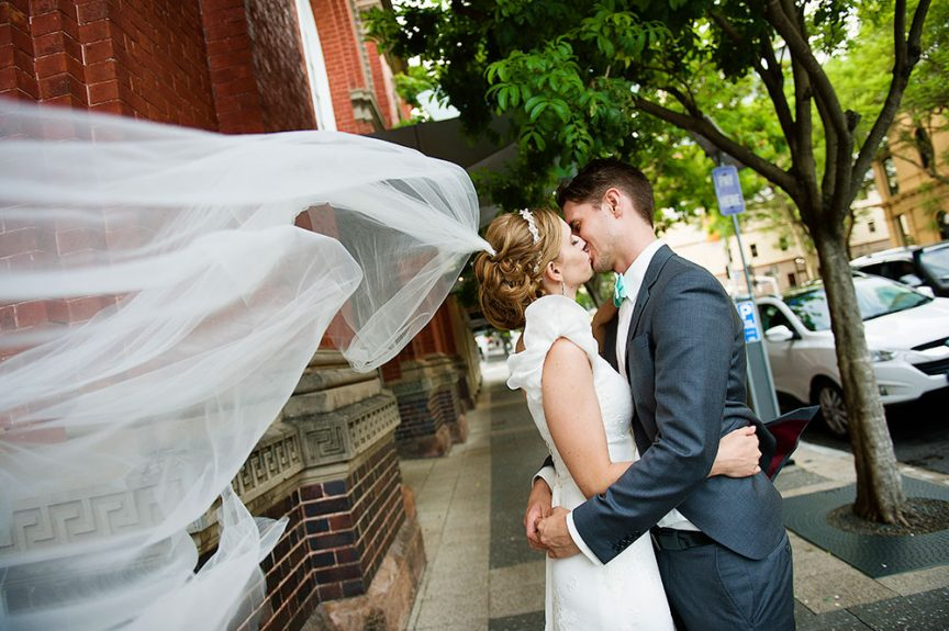 wedding couple kissing by Christopher Thomas Photography