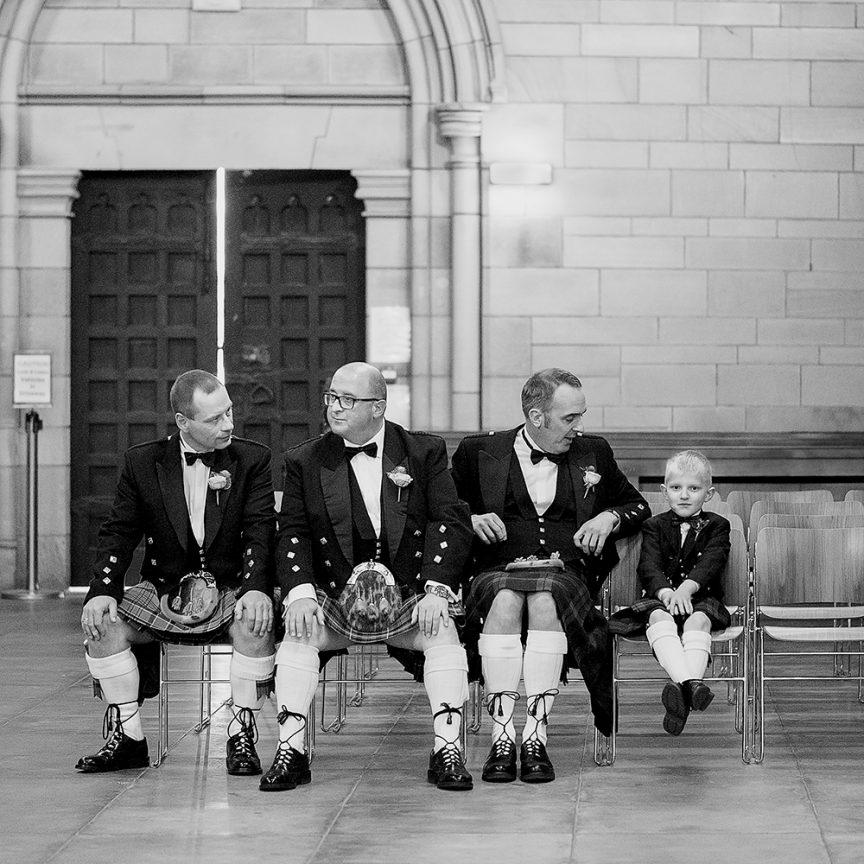 groom and groomsmen in Scottish attire